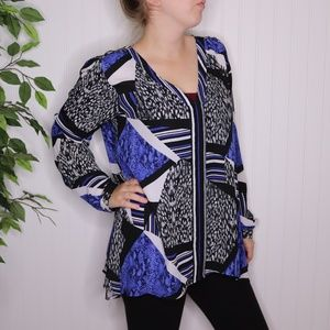 NY Collection Chiffon Blouse Size Large Printed